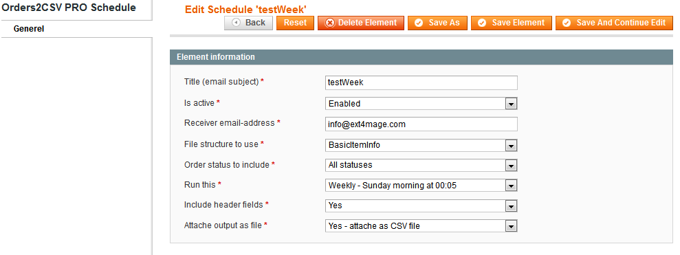 Orders2CSV PRO magento extension - schedule edit